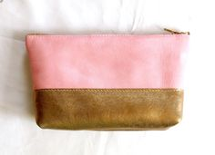 Leather Makeup Bag in Pink & Gold