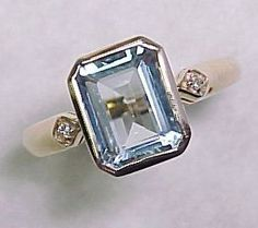 Bezel Set 2.0 Carat AQUAMARINE Ring Diamond Accent from arnoldjewelers on Ruby Lane
