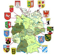 Map of Germany with links to each state and within each state you will find cast. - Map of Germany with links to each state and within each state you will find castles and a brief his - North Rhine Westphalia, Germany Castles, Learn German, Historical Maps, Thinking Day, City State, German Language, Coat Of Arms, Bavaria