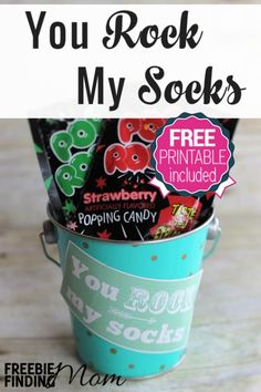 "You Rock My Socks DIY Valentine's Day Gift - Let your valentine know they ""rock"" by gifting them this fun yet frugal Valentine's Day DIY gift. Simply load up a cute tin or basket with Pop Rocks candy and attach the free printable gift tag. That's it!"