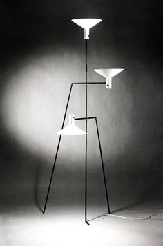 theimportanceofbeingmodernist:  I'm Still Standing: Standing Lamp by Alvin Lustig- Alvin Lustig is best known for his graphic design work, but you could say he was a jack of all trades, turning his hand as well to architecture, interior design and product design. He designed this light in 1949 for fellow architect Edgardo Contini. Architects in the 40's and early 50's, often designed pieces of modern furniture to compliment their architecture. Most of the furniture at the time was still very…