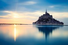 Mont-Saint-Michel at sunset, France, St. Mont Saint Michel France, Wonderful Places, Beautiful Places, Normandy France, France Europe, Paris, Simple, Monument Valley, St Michael