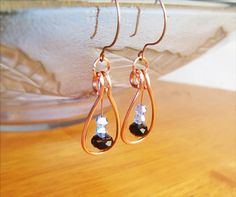 Wire Wrapped Earrings Copper with Black Quartzite  by GearsFactory, €14.00
