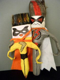 Superheroes made with recycled paint brushes !
