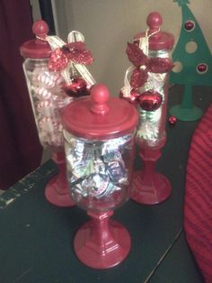 Diy apothacary jars. Again using candle sticks, recycled jars, wood finials and spray paint.  oh. . And E6000 Glue