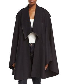 Burberry Tydehill Wool Cape In Navy Wool Cape, Cape Coat, Coats For Women, Clothes For Women, Burberry, Duster Coat, Luxury Fashion, Cashmere, Fashion Outfits