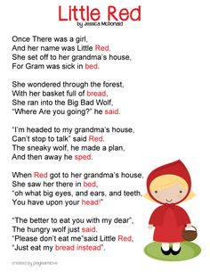 little red riding hood poem...can be sung to I had a little turtle... Preschool Poems, Preschool Curriculum Free, Nursery Rhymes Preschool, Rhyming Poems For Kids, Funny Poems For Kids, Children Poems, Red Riding Hood Story, Traditional Stories, Traditional Tales
