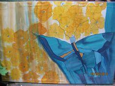 Silk seide handmade silkpainting Schmetterling blau auf Seide gemalt ..Ursula Pauly