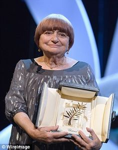 Agnes Varda with her Palme d'Or. And I love what she says here http://variety.com/2015/film/news/cannes-honoree-agnes-varda-talks-women-film-1201504425/ : 'A little less thanks, and a little more money!""