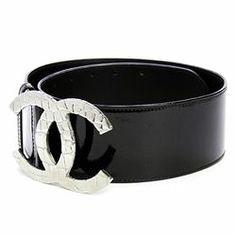 "Chanel Black Patent Leather Signature ""CC"" Wide Belt - $999.99"