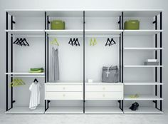 Walk-in wardrobes from the Life Box catalogue can be chosen in two different styles, Opened with open metallic uprights and Closet with wooden uprights Open Wardrobe, Wardrobe Room, Wardrobe Design Bedroom, Wardrobe Closet, Closet Bedroom, Shelf Furniture, Iron Furniture, Walk In Closet Design, Closet Designs