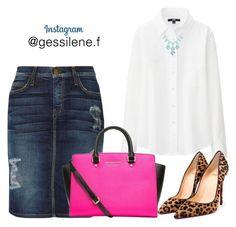 """saia jeans"" by gessilene-ferreira on Polyvore featuring moda, Uniqlo, Current/Elliott, MICHAEL Michael Kors e Christian Louboutin"
