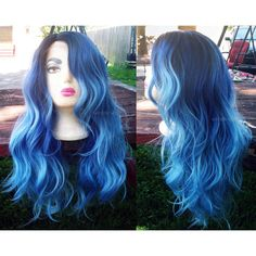 U.S.A. Heat OK Blue Turquoise Ombre LACE FRONT Wavy Wig w/ Dark Roots... ($110) ❤ liked on Polyvore featuring beauty products, haircare, hair styling tools and hair and wig