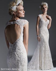Lydia - Beaded lace appliques adorn tulle in this stunning modified A-line wedding dress with a romantic keyhole back. Finished with covered buttons over zipper closure. Marry & Tux Bridal, Marry & Tux Bridal Shoppe, Marry & Tux Nashua, NH, Marry & Tux, Marry and Tux