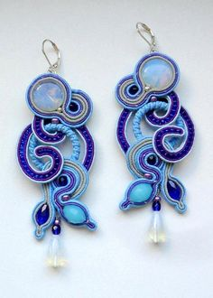 Earrings Waterfalls Blue and royal blue Long soutache by FEYAshop