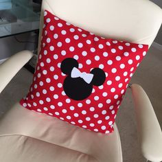 Minnie Mouse Inspired Pillow Cover by littlepetuniadesigns on Etsy