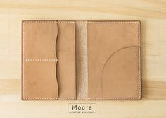 Leather Passport Cover Light Brown Dyed Handmade by MoosLeather