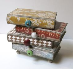 Pile Of Books Four Drawer Jewelry Box Trinket Box Treasure Box | sisterbutterfly - Housewares on ArtFire