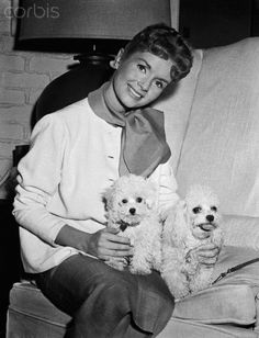 1958 - Posing with her poodles, Tammy and Bachelor. Debbie Reynolds
