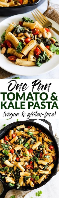 This One Pan Tomato and Kale Pasta will be a staple in your dinner rotation! It's made with simple, wholesome ingredients and ready in 20 minutes. Vegan & gluten-free! @pompeian #TrendingintheKitchen #ad