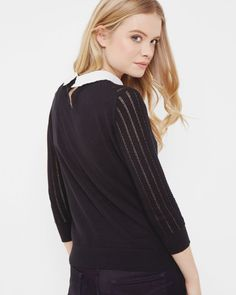 Scallop collar sweater - Black | Outlet | Ted Baker ROW