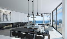 Intérieur moderne et épuré de cet appartement de luxe avec vue sur la mer