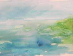 Original Abstract Watercolor Seascape 14x11 by happyliltree, $150.00