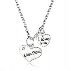 Little Sister I Love You Double Heart Pendant Necklace