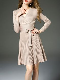 Pleated Cotton Knitted Midi Dress