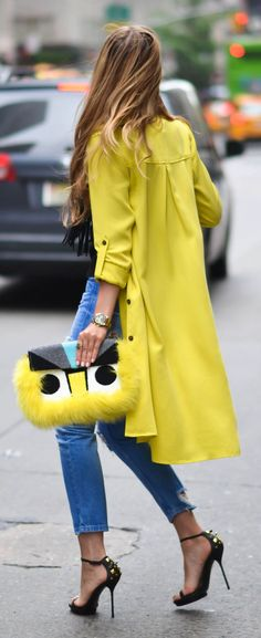 Streetstyle inspiration ~ with Canary Yellow trench coat + Fendi bag