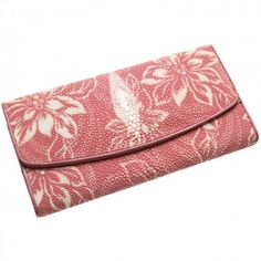 Pink Stingray Leather Clutch Wallet with White Flowers Design