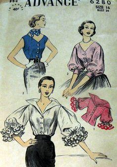 LOVELY VTG 1950s BLOUSE ADVANCE Sewing Pattern 16/34 Advance 6280 3/4 puff sleeves dramatic ruffle pirate white pink blue