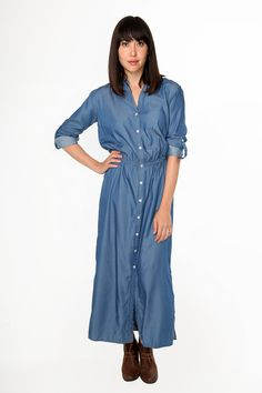 Chambray Buttondown Maxi Dress - Thin, crisp 100% cotton chambray in classic denim blue is an easy way to look sharp! Easy stretch waist, tabbed roll-sleeves, and pockets make this comfortable and wearable, without sacrificing style! So cute belted or alone. Wear to the farmer's market!