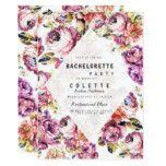 Vintage pink roses bohemian floral Bachelorette Card