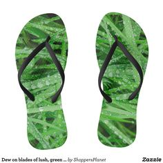 Dew on blades of lush green grass flip flops - Durable Thong Style Hawaiian Beach Sandals By Talented Fashion & Graphic Designers - #sandals #flipflops #hawaii #beach #hawaiian #footwear #mensfashion #apparel #shopping #bargain #sale #outfit #stylish #cool #graphicdesign #trendy #fashion #design #fashiondesign #designer #fashiondesigner #style