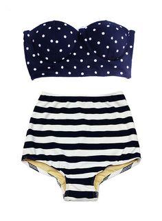 Navy Blue Polka dot Scallop Top and Stripe Vintage High Waist Waisted Bottom Swimsuit Bikini Two piece Bathing suit Swimwear Swim dress S M on Etsy, $39.99