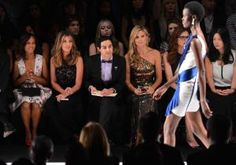 """You're either in or you're out! """"Scandal"""" actress Kerry Washington joins up with """"Project Runway"""" stars Nina Garcia, Zac Posen and Heidi Klum to judge looks coming down the catwalk at the Project Runway Spring 2014 fashion show on Sept. 6, 2013."""