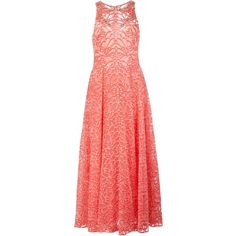 Marchesa Notte embellished floral evening dress ($1,890) ❤ liked on Polyvore featuring dresses, red floral dresses, floral print dress, red cocktail dress, coral cocktail dress and long dresses