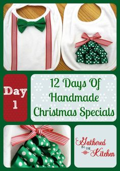 Green Terry Cloth//Red Plaid Trim Baby/'s First Christmas Bib w//Embroidered Santa