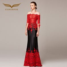>> Click to Buy << Coniefox Elegant Half Sleeve Mermaid Chapel Train Appliques Red and Black Special Occasion Evening Long Dress 31190 #Affiliate