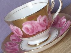 Vintage 1950's Pink roses tea cup and saucer, Royal Chelsea pink and Gold tea cup, English bone china tea cup, Antique teacups, English tea