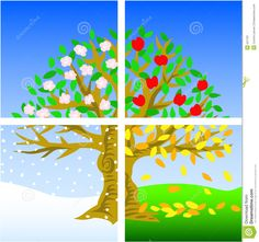 Four Seasons. Illustration of a tree divided into the four seasons , Seasons Poem, Seasons Of The Year, Craft Activities For Kids, Crafts For Kids, Baby Activity Board, Seasons Worksheets, Hobby Photography, Tree Illustration, Autumn Crafts