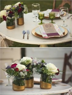 Love the partially dipped mason jars!       rustic wedding ideas http://www.weddingchicks.com/2013/10/01/plum-and-gold-wedding/