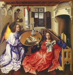 Annunciation by Robert Campin from the Merode Altarpiece 1425-28   A remarkably unconcerned Virgin leans against Campin's favourite bench settle, with a footboard, gothic tracery at either end and a latticework back. A brass cauldron and towel indicate a corner for washing? Candles are placed in hinged brackets on the hooded fireplace. The top lights of the window have expensive patterned glass, but the lower lights have only a mesh and wooden shutters. Pear Tree Miniatures Gallery