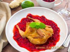 Перепела, маринованные в имбире с брусничным соусом