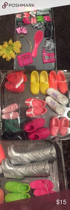 💕Barbie Shoe Bundle💕 💕Soooo cute and adorbs🎀18 pair of Barbie Shoes/Heels/Boots. One of a kind pairs, EXCELLENT condition. Also comes with purse, brush and Bonus Barbie in an outfit, ready for play😜💕Smokefree home and very good condition and loved! Great Christmas EXTRA gift😘🎄🎁💃🏻 Barbie Accessories