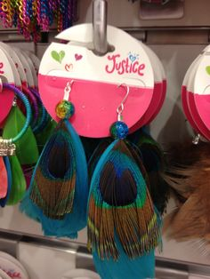 Justice is NOW OPEN.  Great #accessories.  Love these peacock earrings =)