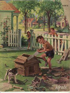 Ideals Magazine - Children's (1946, Vol. 9) THEME; CHILDREN AT PLAY; ART / ILLUSTRATION ONLY