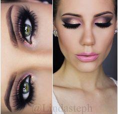 Bright pink makeup look.
