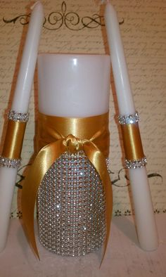 Couture Bling Satin Unity Candles Set by FanciFlamegirl on Etsy, $49.99